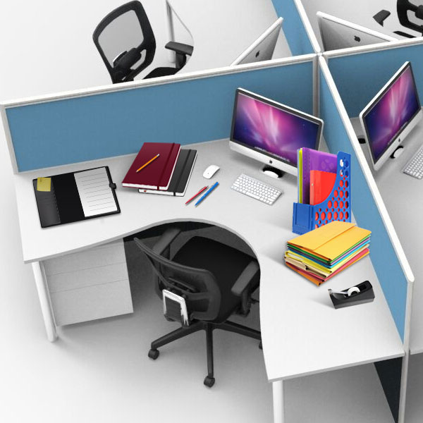 modular office desks with desk accessories and office chairs