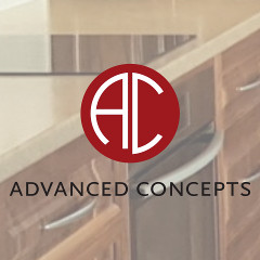 Advanced Concepts logo superimposed on laminated benchtop installation